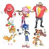 Decoración De Pastel De Sonic,6Pcs Sonic Mini Juego De Figuras,Sonic Cake Topper Pastel,Mini...
