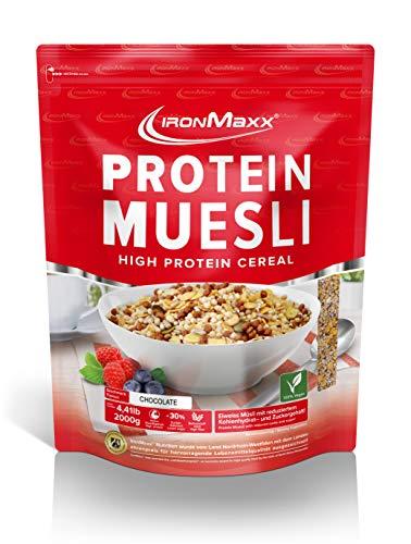 IronMaxx Protein Müsli Schokolade – Veganes Fitness Müsli laktosefrei und glutenfrei – Eiweiß Müsli mit Schokoladengeschmack – 1 x 2 kg