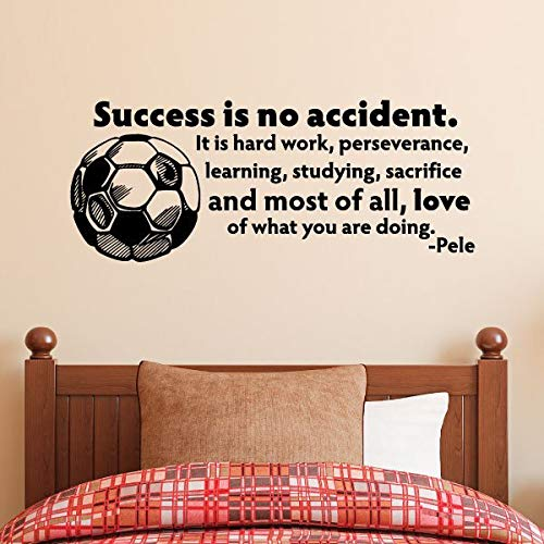 Wall Quotes Success is No Accident Soccer Ball Pele Vinyl Wall Decal Soccer Sports Ball Goal Cleats Team Goalie Hard Work Wall Art