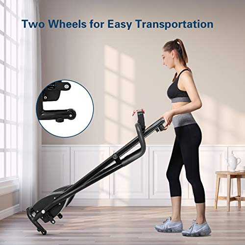 GYMAX Folding Treadmill, Electric Motorized Running Walking Machine with LCD Monitor & Cup Holder, Portable Easy Assembly Treadmill for Home Office Apartment 8