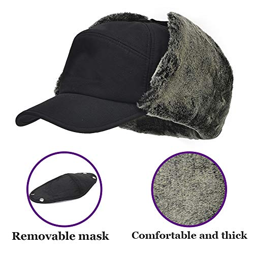 YINQAG Winter Warm Facemask Cap, 3 in 1 Bomber Hat with Full Face Ear Flap, Men Trapper hat with Fur Lined