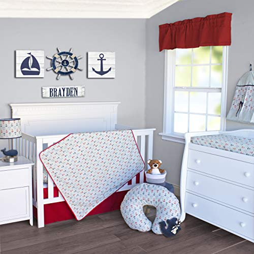 Pam Grace Creations 3 Piece Crib Bedding Set, Nautical, Blue/Red