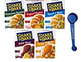 Shake 'n Bake Variety, Parmesan Crusted, Original Chicken, Ranch & Herb, BBQ Blaze, and Crispy Buffalo, 1 Box of Each (5 Pack) with Spice of Life 4-in-1 Measuring Spoon