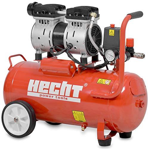 HECHT Flüster-Kompressor 2080 Luftkompressor Druckluft (24-Liter Kessel, 800 Watt, 8 bar, 75,2 dB(A), 2 Stufen Flüsterkompressor)