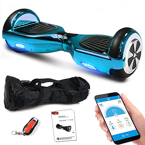 Smartway Hoverboard 6, 5 Zoll 600W-Motion V.5 mit App Funktion, Bluetooth Lautsprecher, Kinder Sicherheitsmodus, Self Elektro Balance Scooter, 600 Watt (Blau Chrome)