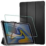 AROYI Coque pour Samsung Galaxy Tab A 10.5 2018 + Verre Trempé, Smart Case Cover Housse Etui de Protection Ultra Mince en Cuir PU avec Support Stand pour Samsung SM-T590 / SM-T595 Tab A 10.5, Noir