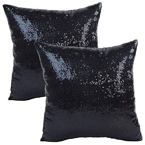JOTOM Funda de Almohada con Lentejuelas con Brillo de Color sólido, Funda de cojín Cuadrada para sofá, decoración para el hogar, 40x40 cm, Juego de 2 (Negro)