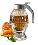 CLEVLI Honey Dispenser with Non Slip Support and Flip Top Lid, No Drip, Honey Jar Glass 8 Ounces for Easy Works, Great for Syrup, Sugar, Sauces, Condiments, Handy Stopper in Bottom, Quick Fill