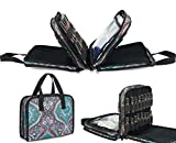 Pacmaxi 54 Bottles Essential Oil Storage Carrying Case With Clear Accessories Pocket-Three-layer Paisley Essential Oil Carrying Storage Bag Holds 10ml, 15ml and Roller Bottles (Paisley Blue)