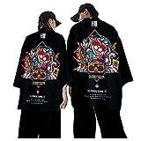 CHUIKUAJ Veste Kimono Hommes Cardigan Japonais Sarouel Ensemble/Chat de Bande Dessinée...