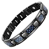 Willis Judd Mens Blue Carbon Fiber Titanium Magnetic Bracelet Adjustable