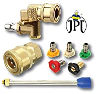 Stainless Steel Material: Quick connect pivoting coupler, made of stainless steel and brass for corrosion and oxidation resistance. Pivoting Coupler:Pressure up to 4500 PSI, 1/4-inch quick change, 2.5 orifice size, 2.5GPM, max temperature 158℉, adjus...
