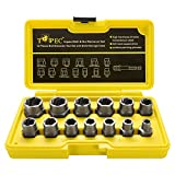 Topec Impact Bolt & Nut Remover Set 13+1 Pieces, ⅜drive impact, Nut Extractor Socket, Bolt Remover Tool Set with Hex Adapter for Removing Damaged, Dead, Rusted, Rounded-Off Bolts, Nuts & Screws
