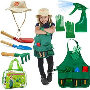 Born-Toys-Kids-Gardening-Set-Kids-Gardening-Tools-with-rake-Kids-Gardening-Gloves-and-Washable-Apron-Set-for-Real-or-Sand-Gardening-and-Dress-up-Clothes-or-Role-Play