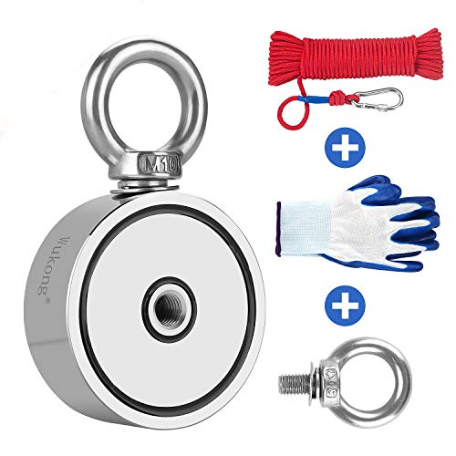 Fishing Magnet with 66ft Rope & Glove, Wukong 760LB Pulling Force...