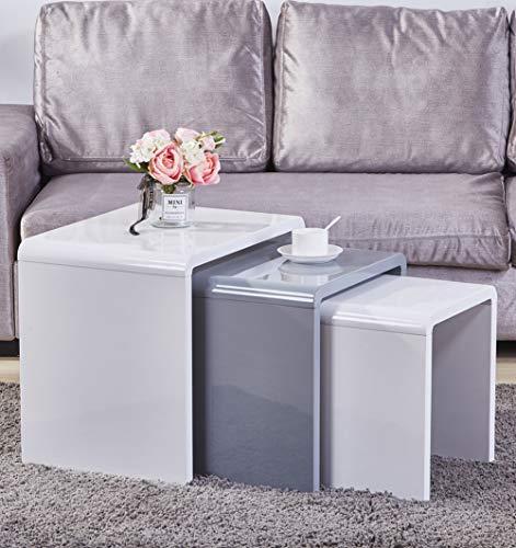 GOLDFAN Moderno Set di 3 Tavolini da caff Sovrapponibili Tavolino da Divano Quadrato Multifunzionale...