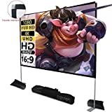 Projector Screen with Stand 100 inch 16:9 HD 4K Outdoor Indoor Projection Screen for Home Theater 3D Fast-Folding Projector Screen with Stand Legs and Carry Bag Projection Movie Wrinkle-Free (Renewed)
