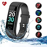 Kirlor Fitness Tracker HR,Activity Tracker Watch with Heart Rate Blood Pressure Monitor,Waterproof IP68 Colorful Screen Smart Bracelet with Calorie Step Counter Sleep Monitor for Android and iPhone