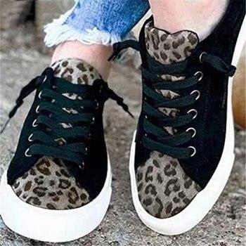 Faxkjeuls Chaussures plates en toile pour femme - Légères - Décontractées - Motif léopard - Noir - Taille 37