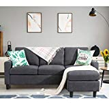 Shintenchi Convertible Sectional Sofa Couch, Modern Linen Fabric L-Shaped Couch 3-Seat Sofa Sectional with Reversible Chaise for Small Living Room, Apartment and Small Space (Dark Grey)