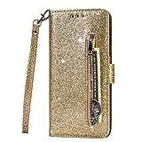 Fanxwu Cover Compatible con Funda Samsung Galaxy A41 Glitter Brillante PU Cuero Cartera con Cremallera y Ranura Tarjetas Libro Tapa Flip Case - Oro
