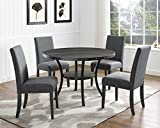 Roundhill Furniture Collection Biony Espresso Wood Dining Set with Gray Fabric Nailhead Chairs,