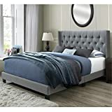 DG Casa Bardy Upholstered Panel Bed Frame with Diamond Tufted and Nailhead Trim Wingback Headboard, Queen Size in Gray Polyester Blend Fabric