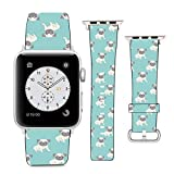 Compatible with Apple Watch Wristband 38mm 40mm, (Pug Dog Pattern) PU Leather Band Replacement Strap for iWatch Series 5 4 3 2 1