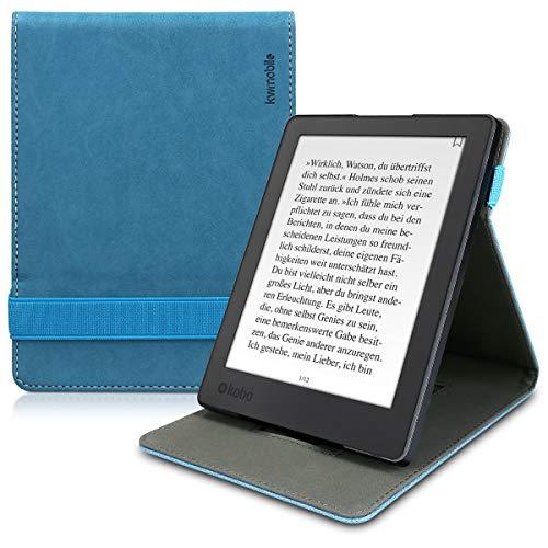 kwmobile Custodia Verticale Compatibile con Kobo Aura H2O Edition 2 - Cover con Fascia Mano e leggìo - Case e-Reader Flip