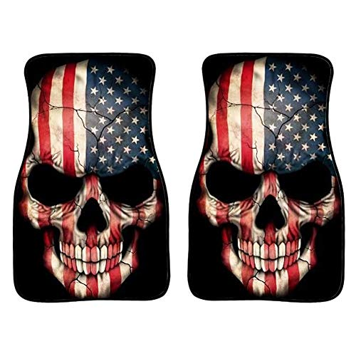 INSTANTARTS American Flag Skull Print Halloween 2 Piece Car Floor Mat Universal Durable Cars Mats Fit SUV Sedan Truck