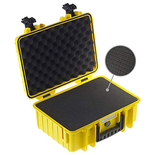 B&W Outdoor Case Hartschalenkoffer Typ 4000 mit Schaumstoff (Hardcase Koffer IP67, SI Würfelschaum, wasserdicht, Innenmaß 38,5x26,5x16,5cm, Gelb)