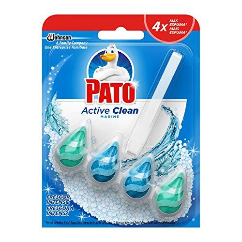 PATO Active Clean - Colgador Wc, Frescor Intenso, Perfuma, Limpia y Desinfecta, Aroma, Marine, Estandar, 38.6 Gramos