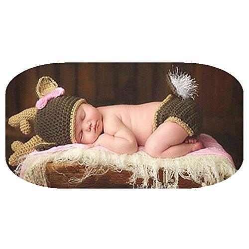 Newborn Infant Photography Props Costume Crochet Knit Deer Hat...