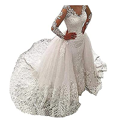 Silhouette: Mermaid/Trumpet; Neckline: V-Neck; Made of Satin,Tulle & Lace, Decorated with Appliques & Lace, Long Sleeves, See Through on the Top of Bodice and Sleeves, with Detachable/Removable Sweep/Chapel Train, Floor Length,V ery Unique Design and...