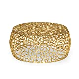 Carrie Modern Aluminum Mesh Coffee Table, Gold