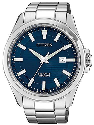 Citizen Herren Analog Quarz Uhr mit Titan Armband BM7470-84L