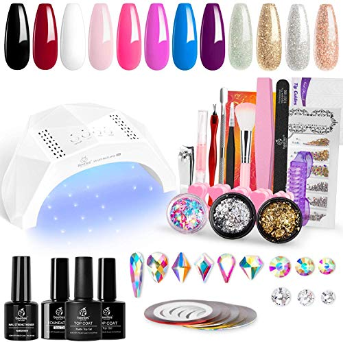 Beetles 12 Colors Gel Nail Polish Starter Kit with U V Light 48W LED Nail Lamp Gel Base Top Coat Cure White Pink Red Gel Polish Glitter Powder Nail Art Rhinestone Gems Manicure Gift for Mother's Day