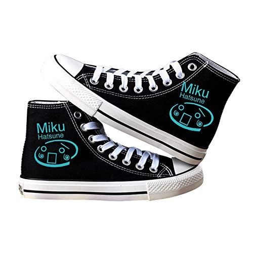 NIEWEI-YI Alpargatas Altas Hatsune Miku Anime Zapatos De Lona Hombres Mujeres Zapatos Casuales Zapatos De Viaje Al Aire Libre,38 EU