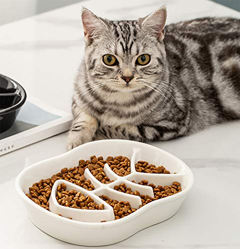 ikjuh Slow Feeder Cat Bowls, Ceramic Fun Slow Feed Interactive Bloat Stop Obesity Cat Bowl Puzzle Healthy Eating Diet Pet Dog Slow Feeding Bowl