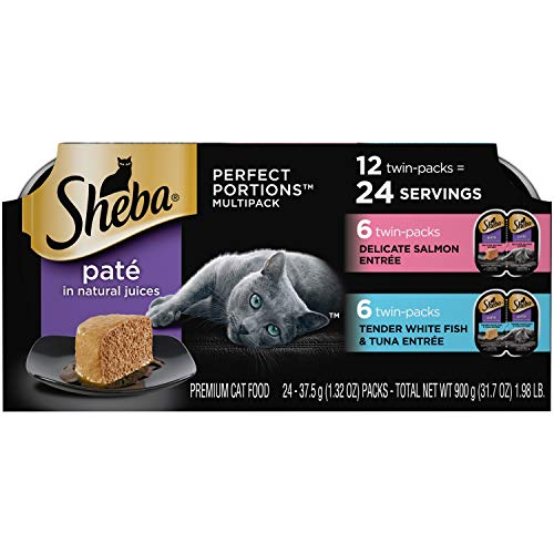 SHEBA PERFECT PORTIONS Soft Wet Cat Food Paté Delicate Salmon Entrée and Tender Whitefish & Tuna Entrée Multipack, (24) 2.6 oz. Easy Peel Twin-Pack Trays