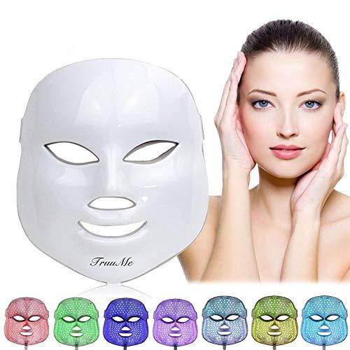 Lichttherapie Maske, LED Gesichtsmaske,7 Farben LED Maske,Akne Lichttherapie Maske, Phototherapiemaske zur Behandlung von Akne, Flecken, Mitesser, Hautunreinheiten
