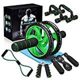 Slimerence 6-in-1 AB Wheel Roller Kit, Ab Exercise Roller Set with Push-up Bar, Hand Gripper, Jump Rope, Spring Exerciser and Knee Pad, Home Gym Workout Equipment for Abdominal Exercise