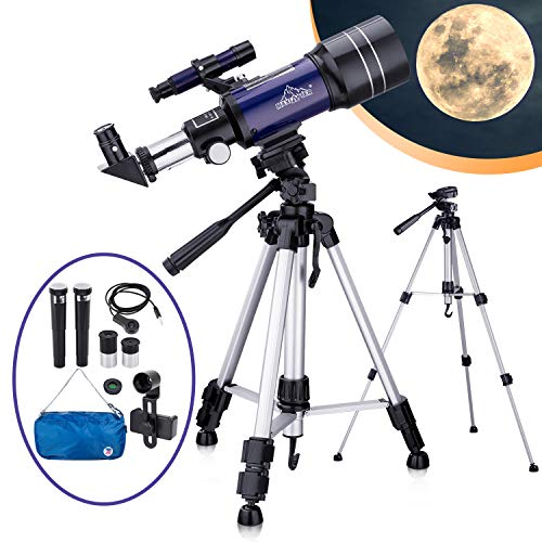 Telescopio Astronómico para Niños Adultos Principiantes, Telescopio Refractor HD de 70 mm para Astronomía, con Trípode Ajustable, Adaptador para Smartphone