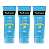 Neutrogena Hydro Boost Water Gel Non-Greasy Moisturizing Sunscreen Lotion with Broad Spectrum SPF 30, Water-Resistant Hydrating Sunscreen Lotion, 3 fl. Oz (Pack of 3)