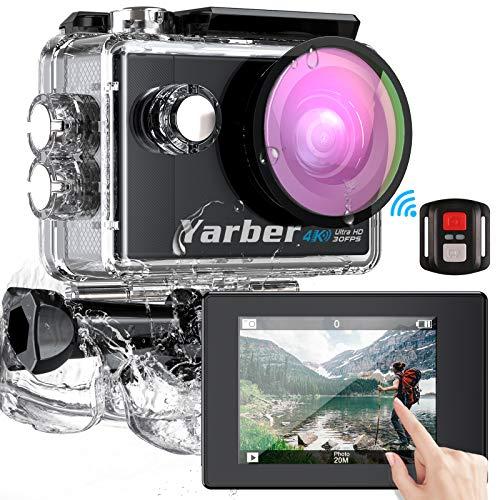 Yarber Action Cam Touch Screen 4K Ultra HD 170°WiFi 30FPS 20MP Impermeabile 40M Fotocamera con EIS Hyper Stabilizzata Videocamera Telecomando con 2 Batterie Ricaricabili e Kit Completo di Accessori