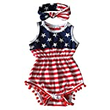 Qin.Orianna 4th Of July Toddler Baby Girl American Flag Tassel Romper With Headband A-Red, L (18-24...