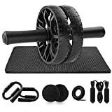 Heunwa 6-in-1 Ab Roller Wheel Kit with Knee Pad, Core Sliders, Push-Up Bar, Hand Grip and Jump Rope, Home Gym Abs Workout Equipment for Men Women Abdominal Exercise
