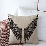 Throw Pillow Case Eagle Tattoo Magnificent Wingspan Fantasy Demon Monster Wing Dark Angel Abstract Alchemy Design Farmhouse Square Cushion Pillows Covers 16'x16' for Home Decorations
