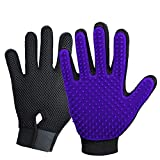 New Version Pet Grooming Brush, Enhance Pet Grooming Glove with 255 Tips, Deshedding Glove for Dog and Cat, Left & Right Gentle De-Shedding Glove Brush,Purple