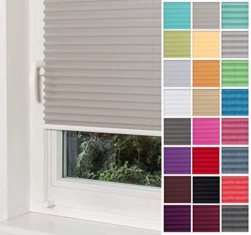 Home-Vision® Premium Plissee Faltrollo ohne Bohren mit Klemmträger / -fix (Grau, B25cm x H100cm) Blickdicht Sonnenschutz Jalousie für Fenster & Tür